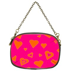 Hot Pink And Orange Hearts By Khoncepts Com Chain Purse (One Side)