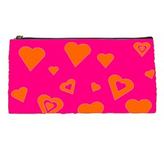 Hot Pink And Orange Hearts By Khoncepts Com Pencil Case