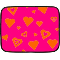 Hot Pink And Orange Hearts By Khoncepts Com Mini Fleece Blanket (two Sided)