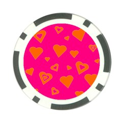 Hot Pink And Orange Hearts By Khoncepts Com Poker Chip (10 Pack)
