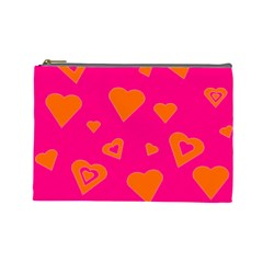 Hot Pink And Orange Hearts By Khoncepts Com Cosmetic Bag (Large)
