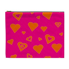 Hot Pink And Orange Hearts By Khoncepts Com Cosmetic Bag (XL)