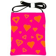 Hot Pink And Orange Hearts By Khoncepts Com Shoulder Sling Bag