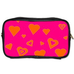 Hot Pink And Orange Hearts By Khoncepts Com Travel Toiletry Bag (one Side)