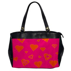 Hot Pink And Orange Hearts By Khoncepts Com Oversize Office Handbag (one Side)