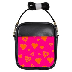 Hot Pink And Orange Hearts By Khoncepts Com Girl s Sling Bag