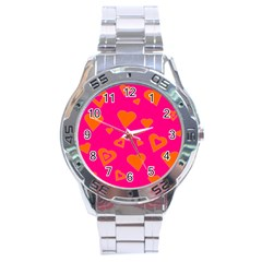 Hot Pink And Orange Hearts By Khoncepts Com Stainless Steel Watch