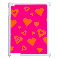 Hot Pink And Orange Hearts By Khoncepts Com Apple Ipad 2 Case (white)