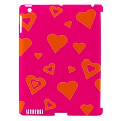 Hot Pink And Orange Hearts By Khoncepts Com Apple Ipad 3/4 Hardshell Case (compatible With Smart Cover)