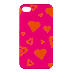 Hot Pink And Orange Hearts By Khoncepts Com Apple Iphone 4/4s Premium Hardshell Case