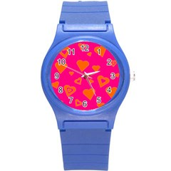 Hot Pink And Orange Hearts By Khoncepts Com Plastic Sport Watch (Small)