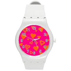 Hot Pink And Orange Hearts By Khoncepts Com Plastic Sport Watch (Medium)