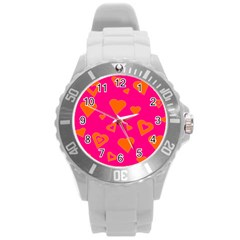 Hot Pink And Orange Hearts By Khoncepts Com Plastic Sport Watch (Large)
