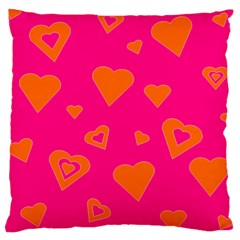 Hot Pink And Orange Hearts By Khoncepts Com Large Cushion Case (Two Sided)