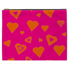 Hot Pink And Orange Hearts By Khoncepts Com Cosmetic Bag (XXXL)