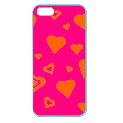 Hot Pink And Orange Hearts By Khoncepts Com Apple Seamless Iphone 5 Case (color)