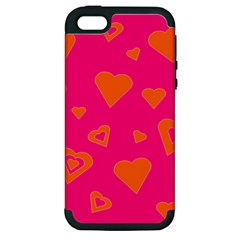 Hot Pink And Orange Hearts By Khoncepts Com Apple Iphone 5 Hardshell Case (pc+silicone)
