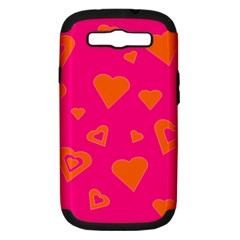 Hot Pink And Orange Hearts By Khoncepts Com Samsung Galaxy S Iii Hardshell Case (pc+silicone)
