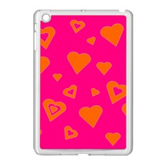 Hot Pink And Orange Hearts By Khoncepts Com Apple Ipad Mini Case (white)