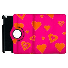 Hot Pink And Orange Hearts By Khoncepts Com Apple iPad 3/4 Flip 360 Case