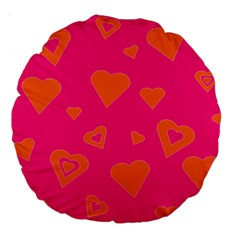 Hot Pink And Orange Hearts By Khoncepts Com 18  Premium Round Cushion