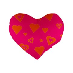 Hot Pink And Orange Hearts By Khoncepts Com 16  Premium Heart Shape Cushion