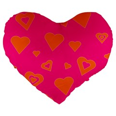 Hot Pink And Orange Hearts By Khoncepts Com 19  Premium Heart Shape Cushion