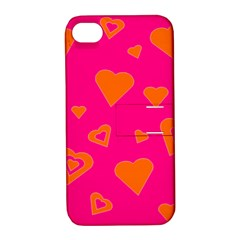 Hot Pink And Orange Hearts By Khoncepts Com Apple Iphone 4/4s Hardshell Case With Stand