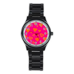 Hot Pink And Orange Hearts By Khoncepts Com Sport Metal Watch (Black)