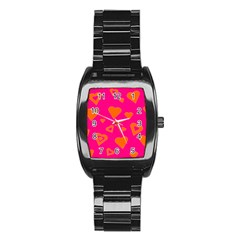 Hot Pink And Orange Hearts By Khoncepts Com Stainless Steel Barrel Watch