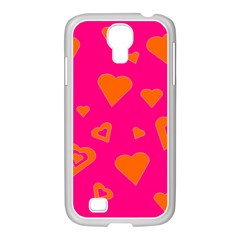 Hot Pink And Orange Hearts By Khoncepts Com Samsung GALAXY S4 I9500/ I9505 Case (White)