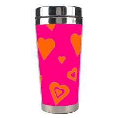 Hot Pink And Orange Hearts By Khoncepts Com Stainless Steel Travel Tumbler