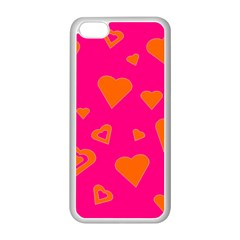 Hot Pink And Orange Hearts By Khoncepts Com Apple iPhone 5C Seamless Case (White)