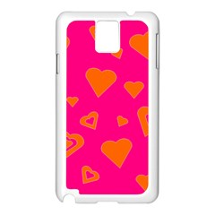 Hot Pink And Orange Hearts By Khoncepts Com Samsung Galaxy Note 3 N9005 Case (white)
