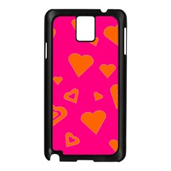 Hot Pink And Orange Hearts By Khoncepts Com Samsung Galaxy Note 3 N9005 Case (Black)