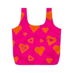 Hot Pink And Orange Hearts By Khoncepts Com Reusable Bag (M)
