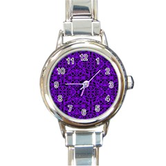 Black and Purple String Art Round Italian Charm Watch