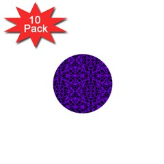 Black and Purple String Art 1  Mini Button (10 pack)