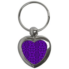 Black and Purple String Art Key Chain (Heart)