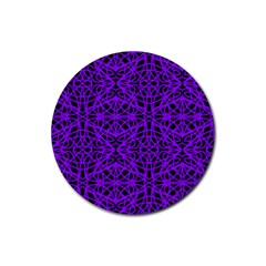Black And Purple String Art Rubber Coaster (round)