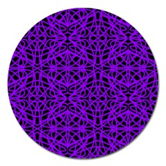 Black And Purple String Art Magnet 5  (round)