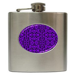 Black and Purple String Art Hip Flask (6 oz)