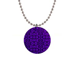 Black And Purple String Art 1  Button Necklace