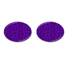 Black and Purple String Art Cufflinks (Oval)