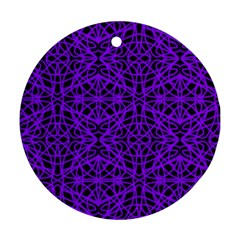 Black And Purple String Art Round Ornament (two Sides)