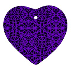 Black And Purple String Art Heart Ornament (two Sides)
