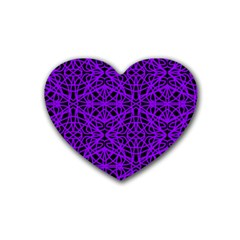 Black and Purple String Art Rubber Coaster (Heart)