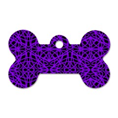 Black and Purple String Art Dog Tag Bone (One Side)