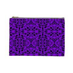 Black And Purple String Art Cosmetic Bag (large)