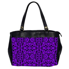 Black And Purple String Art Oversize Office Handbag (two Sides)